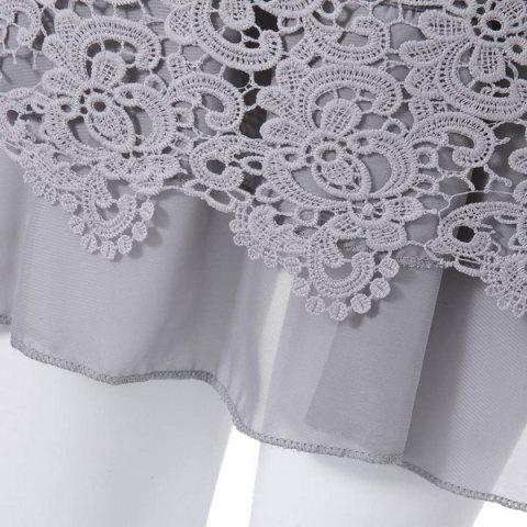 Store Long Sleeve Lace Embellished Solid Color Skirt Hem Women's T-shirt - L GRAY Mobile