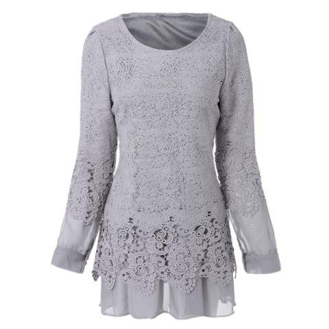 Affordable Long Sleeve Lace Embellished Solid Color Skirt Hem Women's T-shirt - L GRAY Mobile