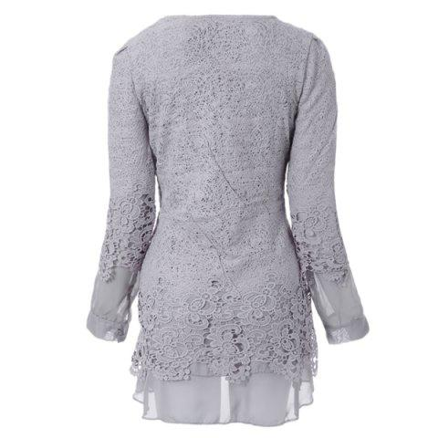Latest Long Sleeve Lace Embellished Solid Color Skirt Hem Women's T-shirt - L GRAY Mobile