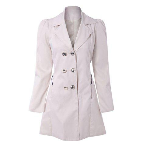 Fit and Flare Coat With Double Breasts - APRICOT 2XL