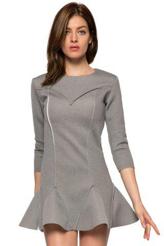 Outfits Trendy Style Round Collar 3/4 Sleeve Solid Color Ruffles Splicing Women's Dress - XS GRAY Mobile