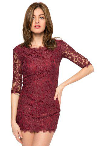 Trendy Style Scoop Collar 3/4 Sleeve Solid Color Slimming Women's Lace Dress