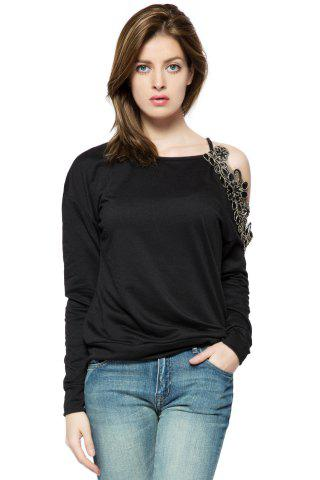 Fashion Stylish Round Collar Long Sleeve Floral Embroidery Off-The-Shoulder Women's Sweatshirt