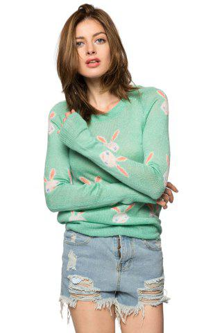 Shops Casual Style Jewel Neck Long Sleeve Full Rabbit Pattern Women's Sweater - M GREEN Mobile