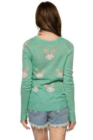 Discount Casual Style Jewel Neck Long Sleeve Full Rabbit Pattern Women's Sweater - M GREEN Mobile