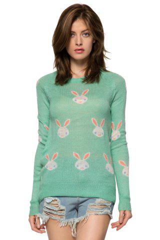 Fashion Casual Style Jewel Neck Long Sleeve Full Rabbit Pattern Women's Sweater - M GREEN Mobile
