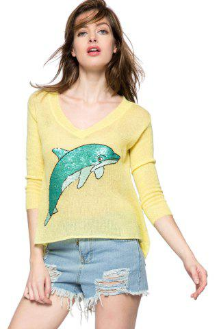Shops Casual Style V-Neck 3/4 Sleeve Sequins Dolphin Pattern Women's Sweater - M YELLOW Mobile