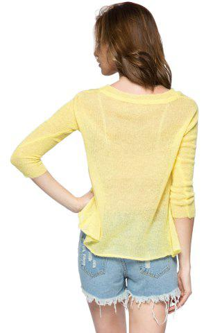 Discount Casual Style V-Neck 3/4 Sleeve Sequins Dolphin Pattern Women's Sweater - M YELLOW Mobile