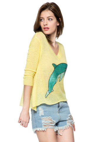 Sale Casual Style V-Neck 3/4 Sleeve Sequins Dolphin Pattern Women's Sweater - M YELLOW Mobile