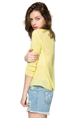 Online Casual Style V-Neck 3/4 Sleeve Sequins Dolphin Pattern Women's Sweater - M YELLOW Mobile