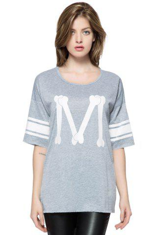 Casual Scoop Neck Loose-Fitting Printed 3/4 Length Sleeve T-shirt For Women