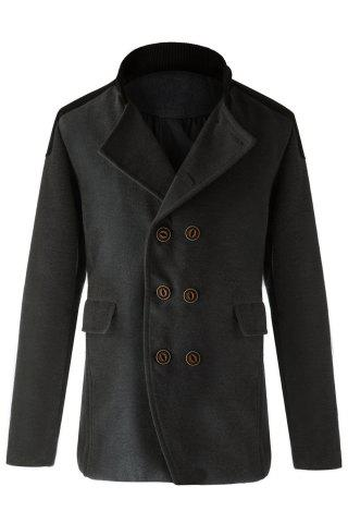 Trendy Slimming Stand Collar Long Sleeves Double-Breasted Design Color Splicing Men's Woolen Overcoat - GRAY - 2XL