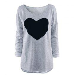 Women's Heart Pattern T-Shirt Long Sleeve Crew Neck Tops