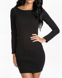 Sexy Style Scoop Collar Long Sleeve Black Zipper Backless Bodycon Dress For Women -