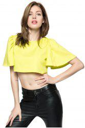Chic Style Round Collar Ruffled Solid Color Flare Sleeve Women's Crop Top -