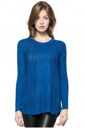 Fashionable Style Scoop Collar Solid Color Long Sleeve Cotton Women's Sweater - BLUE
