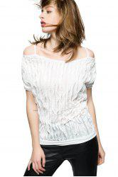 Trendy Off the Shoulder Ruched Women's Summer Blouse - WHITE