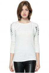 Korean Fashion and Mix-Matched Style Leopard Print Embellished Loose Bat-Wing Sleeves T-shirt For Women - WHITE
