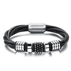 Chic Magnetic Buckle Layered Faux Leather Chain Bracelet For Men -