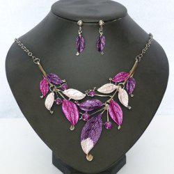 A Suit of Beads Leaf Embellished Necklace and Earrings - PURPLE