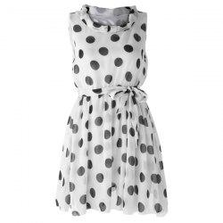 Chic Style Ruffled Polka Dot Print Sleeveless Chiffon Women's Dress - WHITE