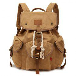 Trendy String and Buckle Design Men's Backpack -