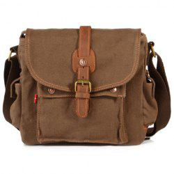 Retro Style Splicing and Buckle Design Men's Messenger Bag - COFFEE