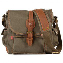 Retro Style Splicing and Buckle Design Men's Messenger Bag - ARMY GREEN