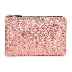 New Fashion Style Women's Sparkle Spangle Clutch Evening Bag - PINK