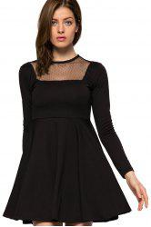 Fashionable Round Collar Long Sleeve Voile Splicing Black A-Line Women's Dress -