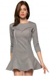 Trendy Style Round Collar 3/4 Sleeve Solid Color Ruffles Splicing Women's Dress -