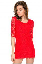 Trendy Style Scoop Collar 3/4 Sleeve Solid Color Slimming Women's Lace Dress -