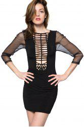 Sexy Style Round Collar Long Sleeve Hollow Out Splicing Women's Bodycon Dress -