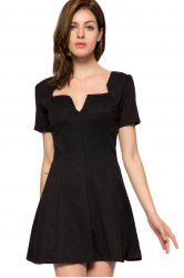 Fashionable V-Neck Short Sleeve Black A-Line Women's Dress