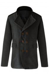 Trendy Slimming Stand Collar Long Sleeves Double-Breasted Design Color Splicing Men's Woolen Overcoat - Gris 2XL