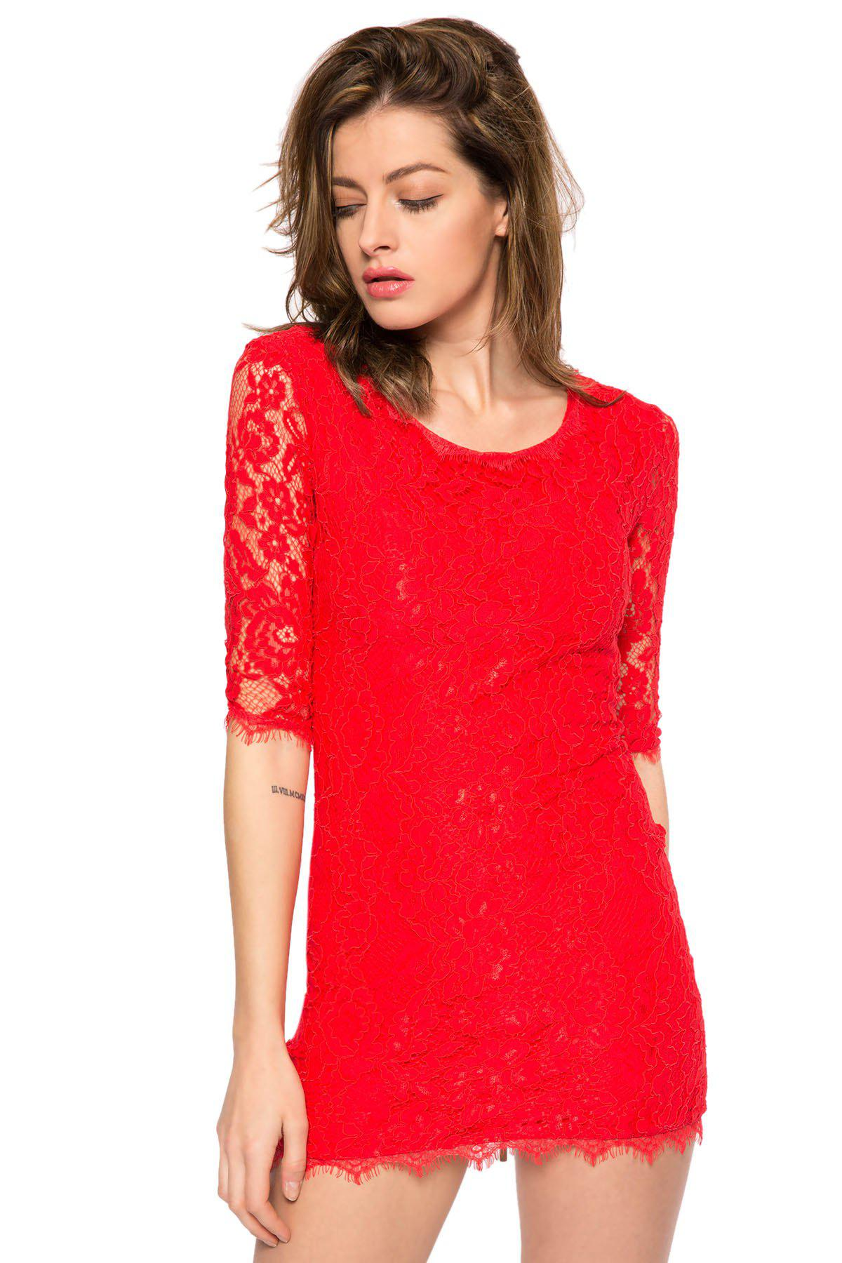 Cheap Trendy Style Scoop Collar 3/4 Sleeve Solid Color Slimming Women's Lace Dress