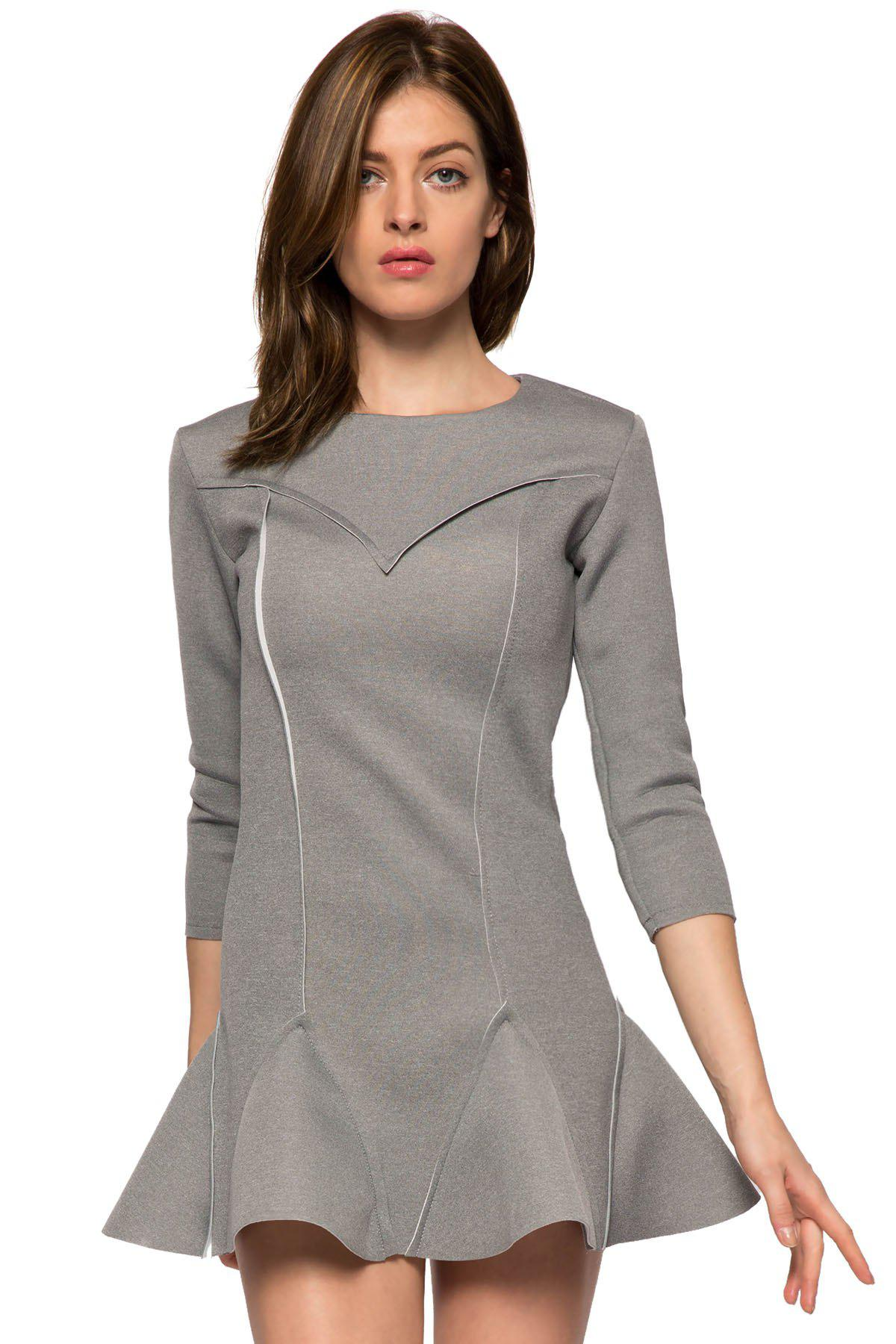 Online Trendy Style Round Collar 3/4 Sleeve Solid Color Ruffles Splicing Women's Dress