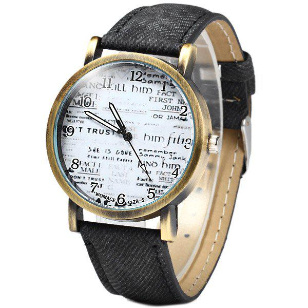 Outfit WoMaGe 1128-5 Female Quartz Watch Round Dial with Words Leather Band