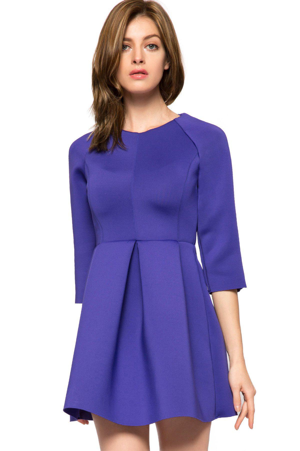 Sale Trendy Style Round Collar 3/4 Sleeve Solid Color Pleated A-Line Women's Dress