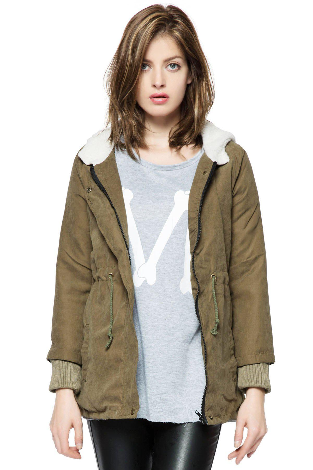 New Cotton-padded Thicken Berber Fleece Coat Frock OvercoatWOMEN<br><br>Size: ONE SIZE; Color: ARMY GREEN; Clothes Type: Trench; Material: Cotton,Polyester; Type: Wide-waisted; Shirt Length: Long; Sleeve Length: Full; Collar: Hooded; Pattern Type: Solid; Embellishment: Pleated; Style: Casual; Weight: 0.565kg; Package Contents: 1 x Coat;