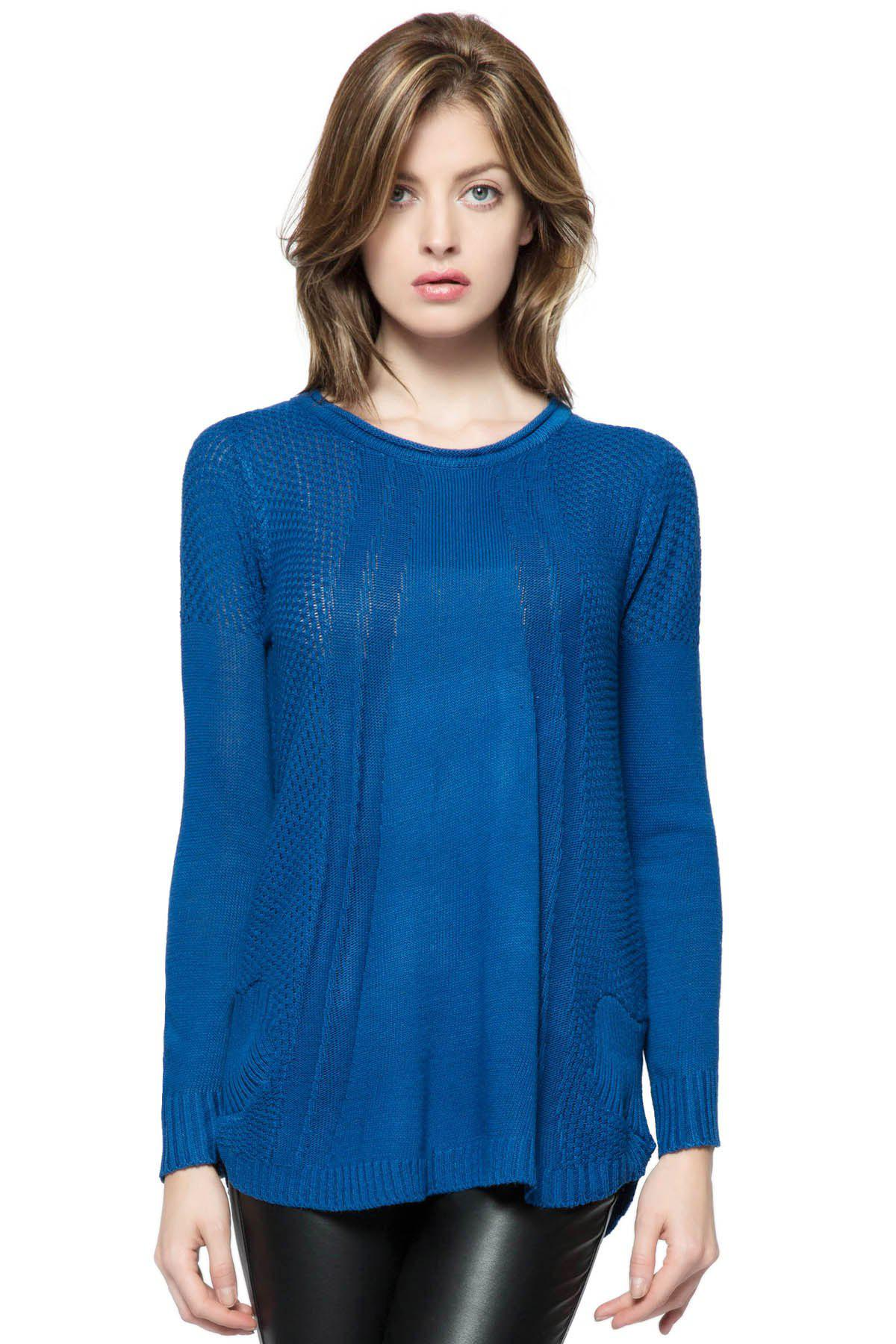 Fashionable Style Scoop Collar Solid Color Long Sleeve Cotton Womens SweaterWOMEN<br><br>Size: ONE SIZE; Color: BLUE; Type: Pullovers; Material: Cotton; Sleeve Length: Full; Collar: Round Neck; Style: Casual; Weight: 0.402KG; Package Contents: 1 ? Sweater;