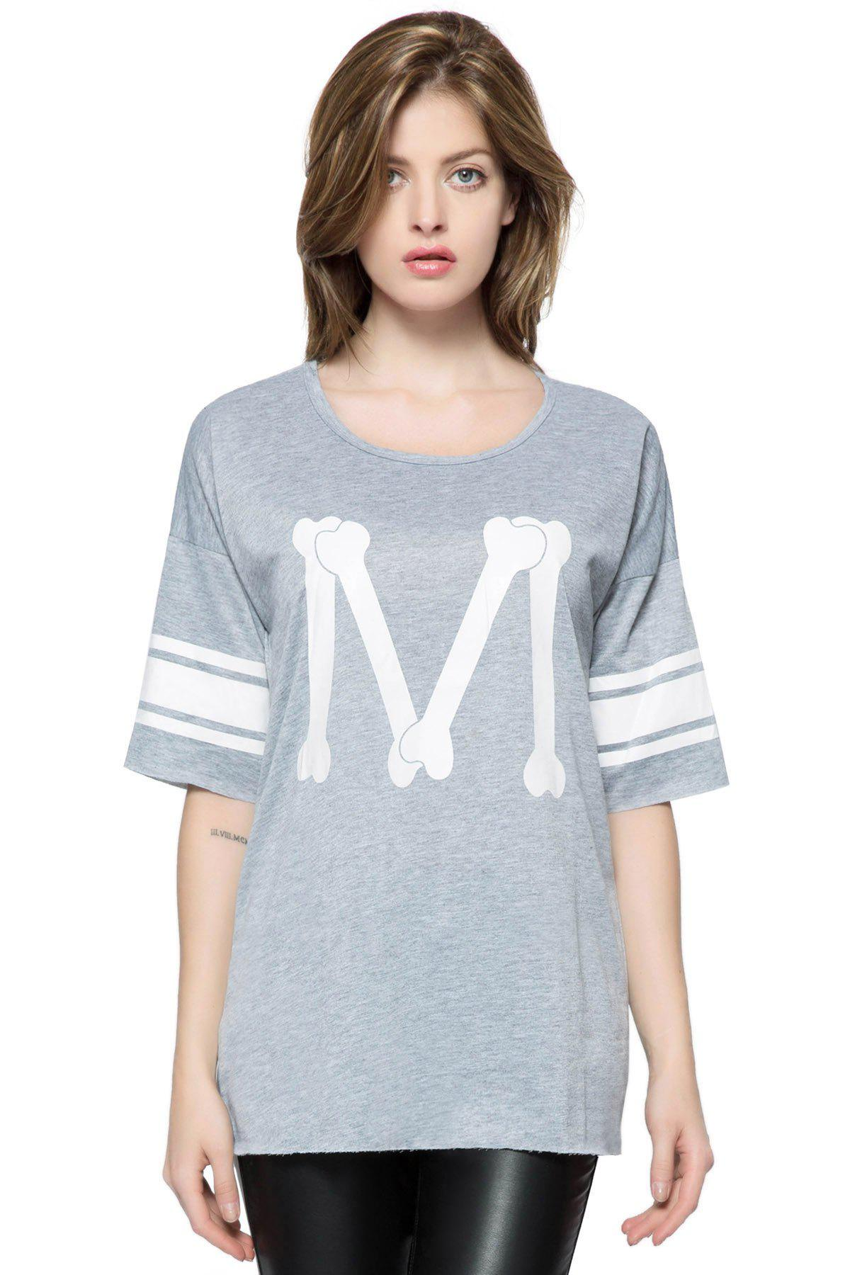 Casual Scoop Neck Loose-Fitting Printed 3/4 Length Sleeve T-shirt For WomenWOMEN<br><br>Size: ONE SIZE; Color: DEEP GRAY; Material: Polyester; Shirt Length: Long; Sleeve Length: Three Quarter; Collar: Scoop Neck; Style: Casual; Pattern Type: Print; Weight: 0.55KG; Package Contents: 1 x T-shirt;