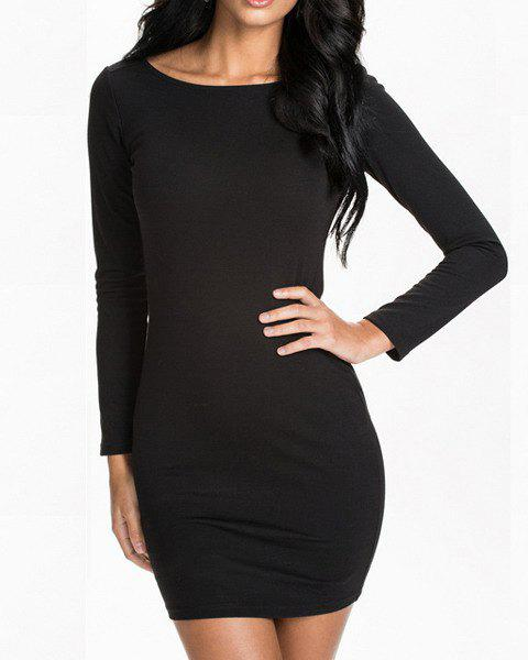 Outfits Sexy Style Scoop Collar Long Sleeve Black Zipper Backless Bodycon Dress For Women