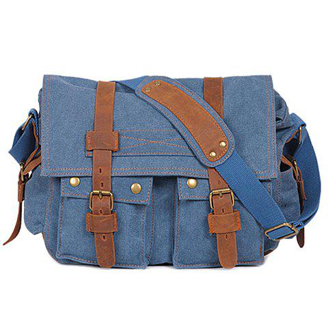 Unique Retro Canvas and Belt Design Men's Messenger Bag