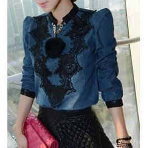 Fashionable Stand Collar Lace Splicing Long Sleeve Women's Denim Blouse