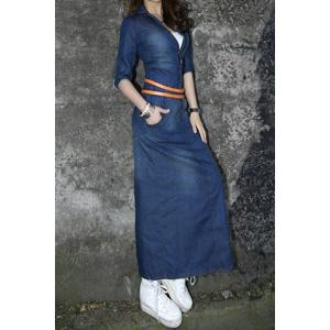 Casual Turn-Down Collar Solid Color Half Sleeve Denim Women's Maxi Dress -