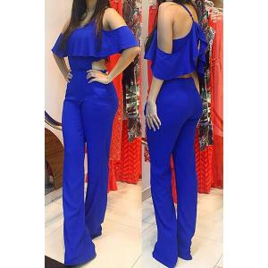 Stylish Spaghetti Strap Sleeveless Flounced Solid Color Women's Jumpsuit