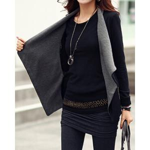 Stylish Color Splicing Long Sleeves Zippered Jacket For Women -