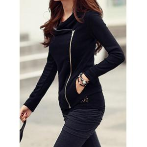 Stylish Color Splicing Long Sleeves Zippered Jacket For Women - BLACK M