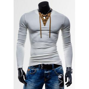 Laconic Personality Color Block V-Neck Slimming Long Sleeves Men's Cotton Blend T-Shirt